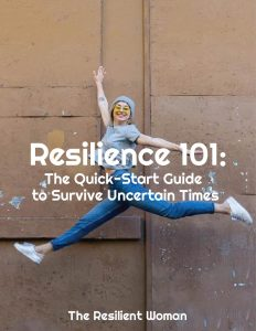 A resilient woman jumping for joy